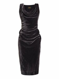 Vivienne Westwood Anglomania - Virginia Ruched Velvet Midi Dress - Womens - Dark Grey