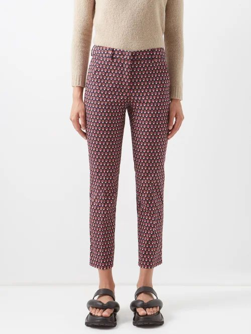 Valentino - Leopard And Tiger Print Wool Blend Skater Dress - Womens - Red Print