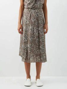 Borgo De Nor - Mila Floral Print Cotton Dress - Womens - Black Print