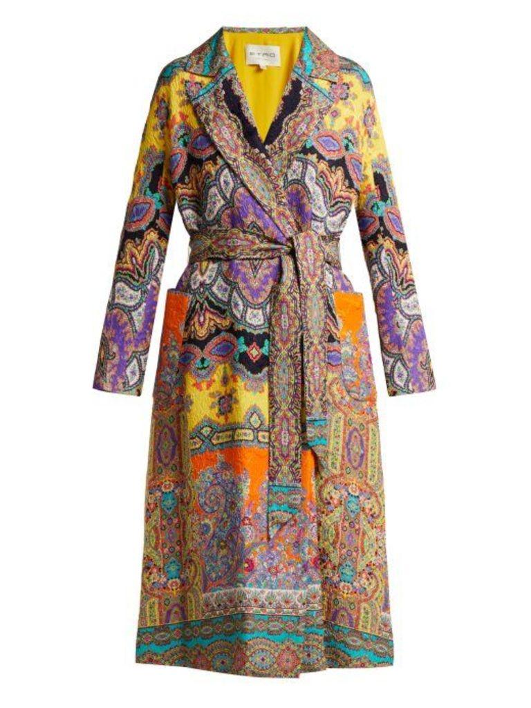 Etro - Opal Paisley Print Textured Crepe Jacket - Womens - Multi