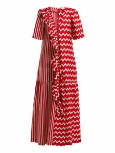 Stella Mccartney - Gabrielle Zigzag Print Maxi Dress - Womens - Red White