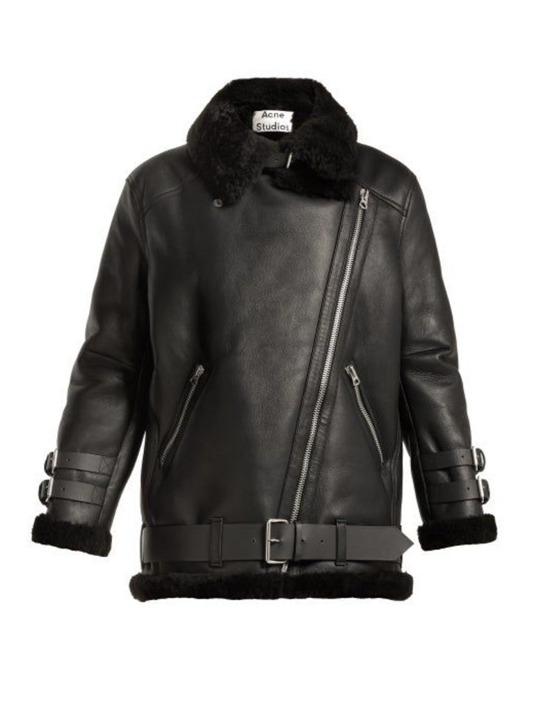 Acne Studios - Velocite Oversized Shearling Jacket - Womens - Black