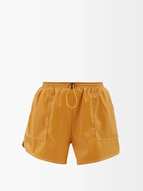 Ann Demeulemeester - Belted Crinkled Satin Skirt - Womens - Brown