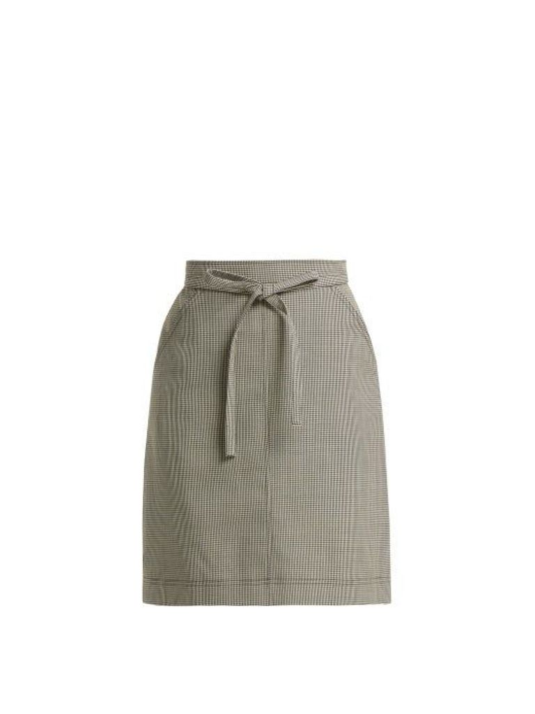 Alexachung - Puppytooth A Line Wool Blend Skirt - Womens - Black White