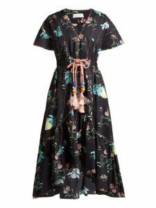 Peter Pilotto - V Neck Floral Print Cotton Dress - Womens - Black Multi