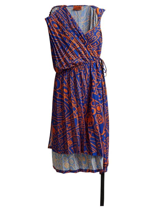 Colville - Asymmetric Pleated Midi Dress - Womens - Blue Print