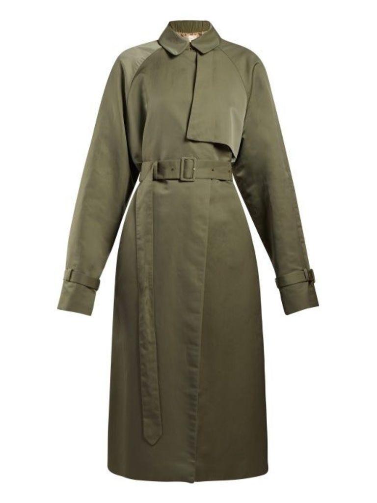 The Row - Neita Silk Trench Coat - Womens - Dark Green
