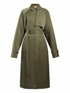 The Row - Neita Silk Trench Coat - Womens - Dark Green