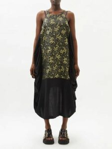 Preen By Thornton Bregazzi - Jasmin Silk Ruffle Trim Midi Skirt - Womens - Ivory Multi