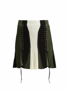 Alexander Mcqueen - Lace Up Silk Blend Skirt - Womens - Black Green