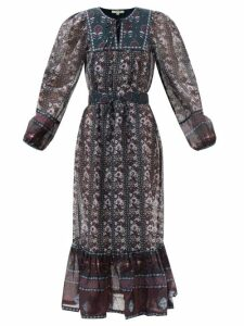 Fendi - Detachable Collar Pleated Silk Midi Dress - Womens - Pink White