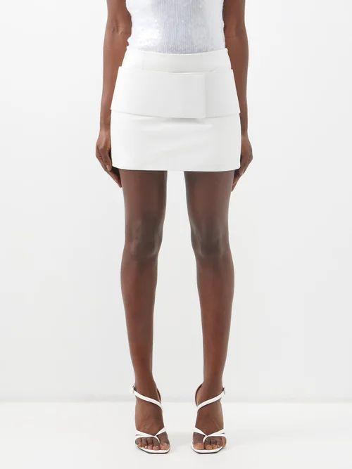 Raey - Split Side Crepe A Line Skirt - Womens - Black