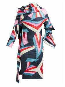 Matty Bovan - Structural Printed Dress - Womens - Blue Multi