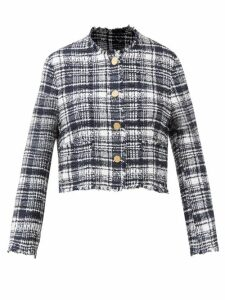 Prada - Logo Patch Bouclé Virgin Wool Skirt - Womens - Yellow Multi