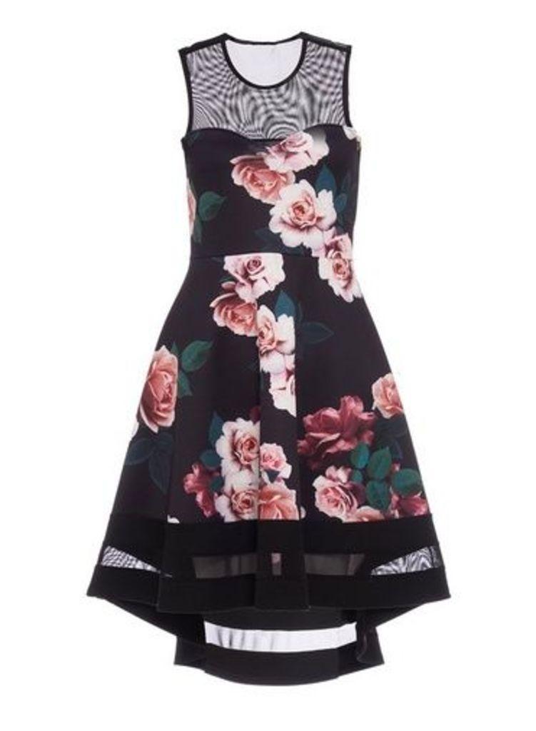 Womens *Quiz Multi Colour Foral Print Dip Hem Skater Dress- Black, Black