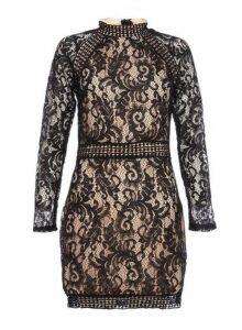 Womens *Quiz Black Lace Mini Shift Dress- Black, Black