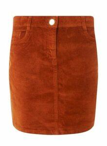 Womens Tan Corduroy Skirt- Brown, Brown
