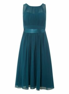 Womens **Showcase Petite Green 'Bethany' Midi Skater Dress- Green, Green