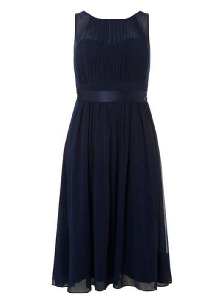 Womens **Showcase Petite Navy 'Bethany' Midi Skater Dress- Blue, Blue