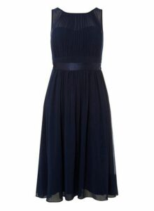 Womens **Showcase Petite Navy 'Bethany' Midi Skater Dress- Blue, Blue