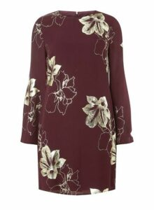 Womens Wine Floral Foil Print Shift Dress- Red, Red