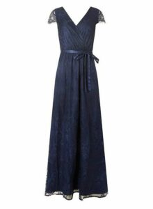 Womens **Showcase Navy Lace 'Isla' Maxi Dress- Blue, Blue