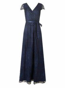 Womens **Showcase Navy Lace 'Isla' Maxi Dress- Blue, Blue