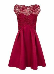 Womens **Little Mistress Berry Cap Sleeve Skater Dress- Red, Red