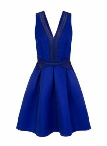 Womens **Little Mistress Blue Crochet Midi Dress- Blue, Blue