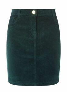 Womens Green Corduroy Skirt, Green