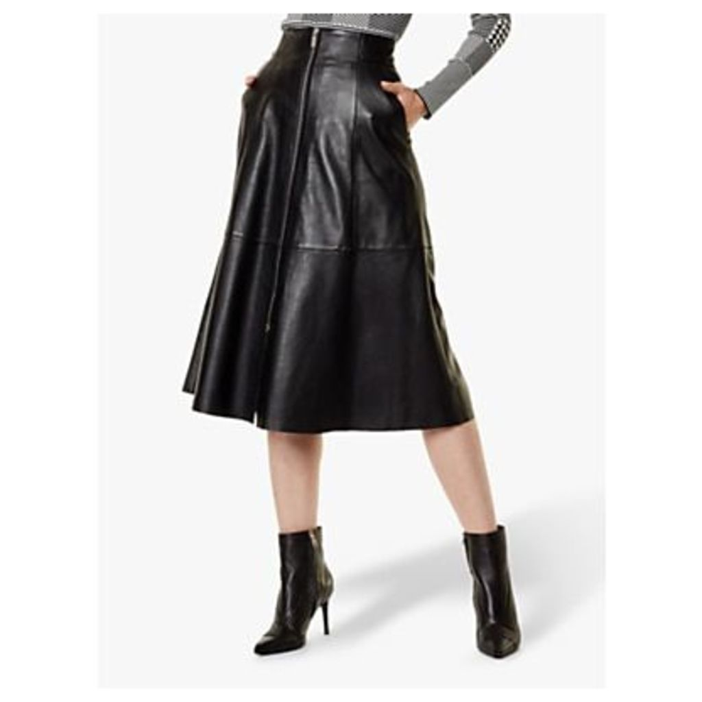Karen Millen Leather Vertical Zip Skirt, Black