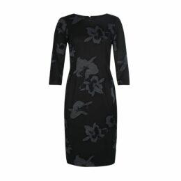 Black Floral Placement Dress