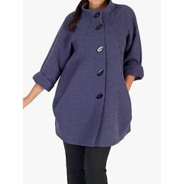 Chesca Button Detail Crinkle Coat, Purple