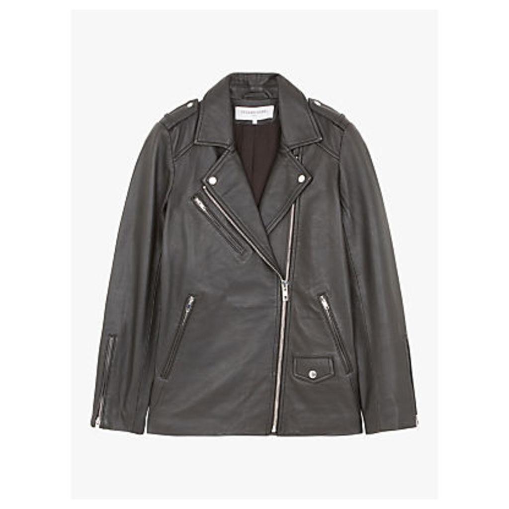 Gerard Darel Susan Asymmetric Zip Leather Jacket, Chocolate Brown