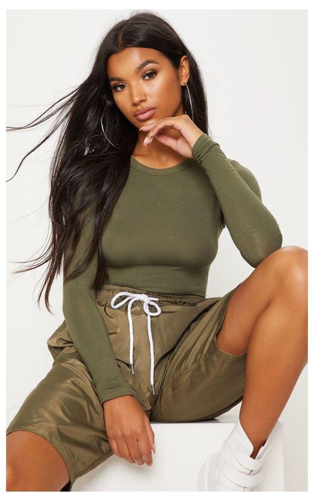 Basic Khaki Long Sleeve Fitted T Shirt, Green