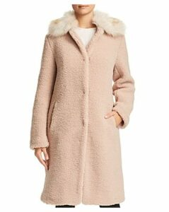 Bernardo Faux Shearling Coat with Faux Fur Collar