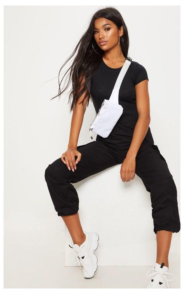 Black Rib Short Sleeve T Shirt, Black