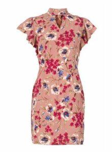 Womens *Tenki Rosewood Floral Print Bodycon Dress- Rose, Rose