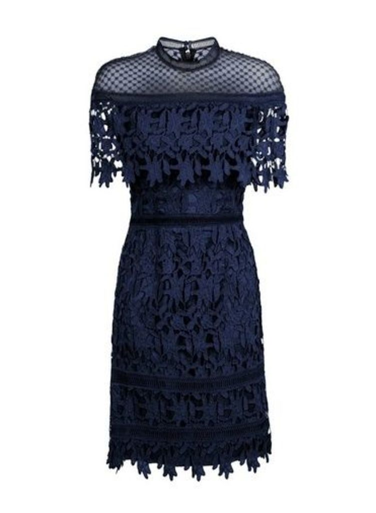 Womens *Chi Chi London Navy Crochet Mini Bodycon Dress- Navy, Navy