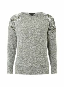 Womens Grey Sequin Embellished Shoulder Cut-And-Sew Top- Black, Black