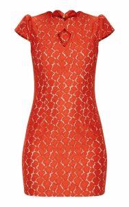 Rust Lace Cap Sleeve Neckline Detail Bodycon Dress, Orange