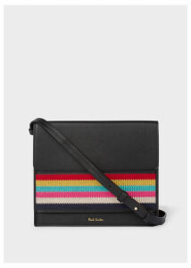 Women's Black Leather Cross-Body Bag With Multi-Coloured Stripe Embroidered Detail