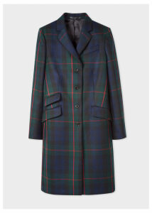 Women's Navy, Green And Red Tartan Wool And Cashmere-Blend Epsom Coat