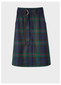 Women's Navy, Green And Red Tartan A-Line Midi Skirt With Belt