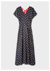 Women's Black V-Neck Silk Dress With 'Eclipse Spot' Print