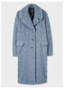 Women's Slate Blue Bouclé Cocoon Coat