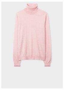 Women's Light Pink Wool Roll-Neck Sweater