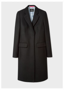 Women's Black Wool And Cashmere-Blend Epsom Coat