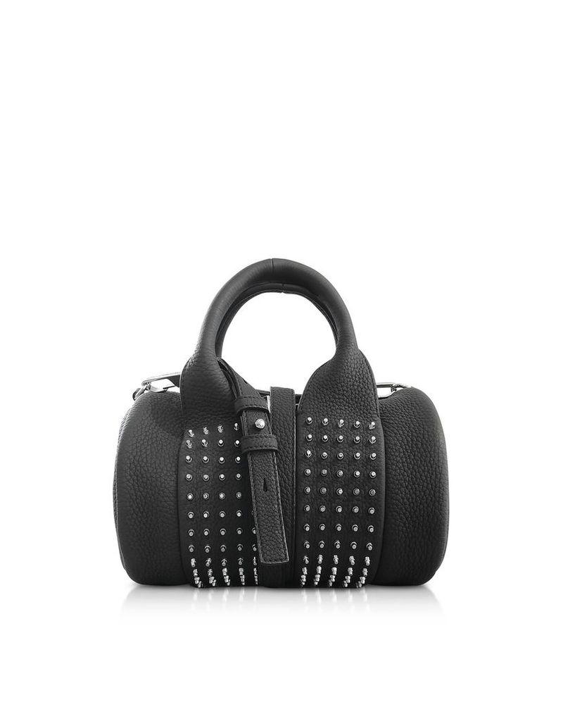 Alexander Wang Black Matte Leather Studs Baby Rockie Satchel Bag