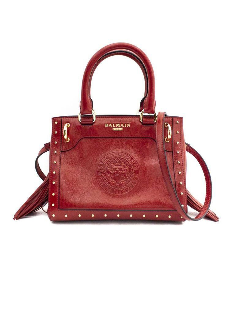 Balmain Le Panier Shopping Bag In Red Calfskin Leather.